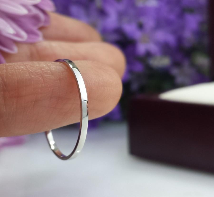 Super Thin Platinum Wedding Band 1mm 1 5mm 2mm Hammered Comfort Fit Matte Satin Domed Flat Slim Ring Skinny Custom