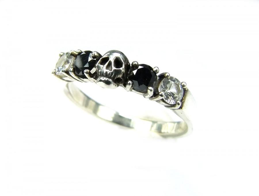 Skull Wedding Ring Size 4 5 Ready To Ship Black Diamond Sterling Engagement Goth Psychobilly Band Set Jewel