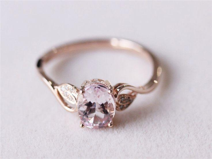 6x8mm Oval Morganite Ring Diamond Morganite Wedding Ring