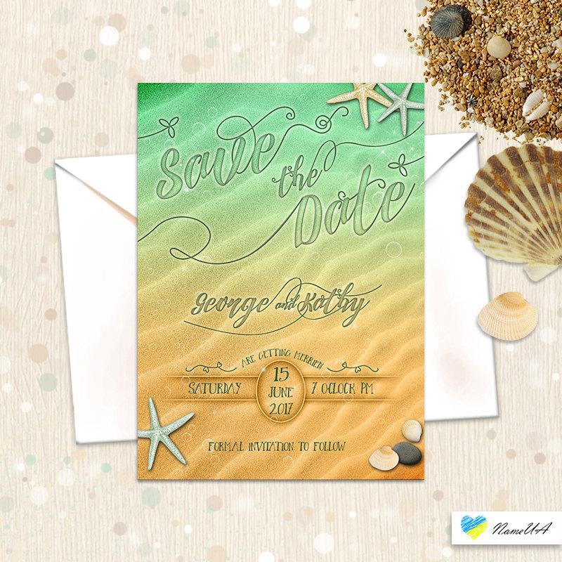 Save The Date Nautical Beach Wedding Invitation Ocean Water Thank You Cards Printable Set Marine Sea Sand Green Yellow Starfish Shell