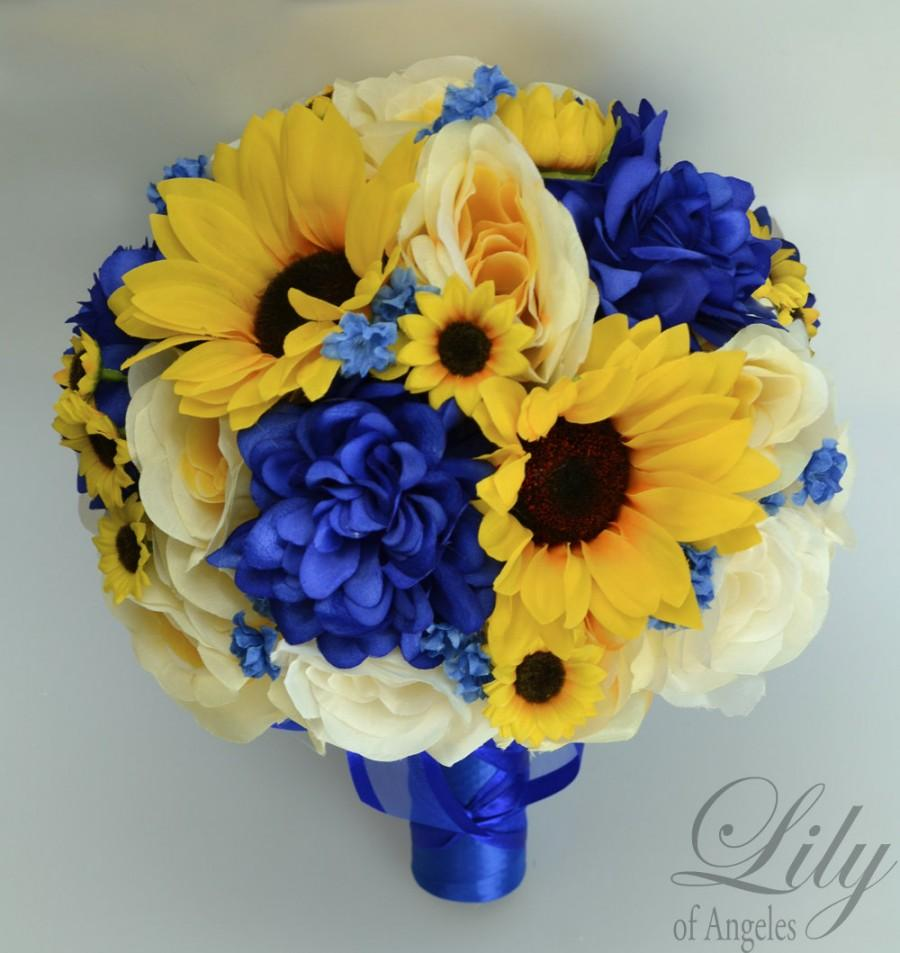 17 Piece Package Wedding Bridal Bouquet Silk Flowers Bouquets Artificial Sunflower Royal Blue Yellow Ivory Lily Of Angeles Blye06