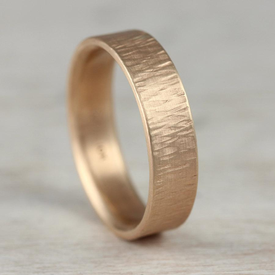 4mm Or 5mm Men S Wood Texture Wedding Ring Rustic Bark Band Eco Friendly Recycled Gold Palladium