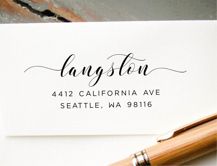 Address Stamp Self Inking Return Modern Calligraphy Personalized Rubber Wedding Invitation Envelope Addressing