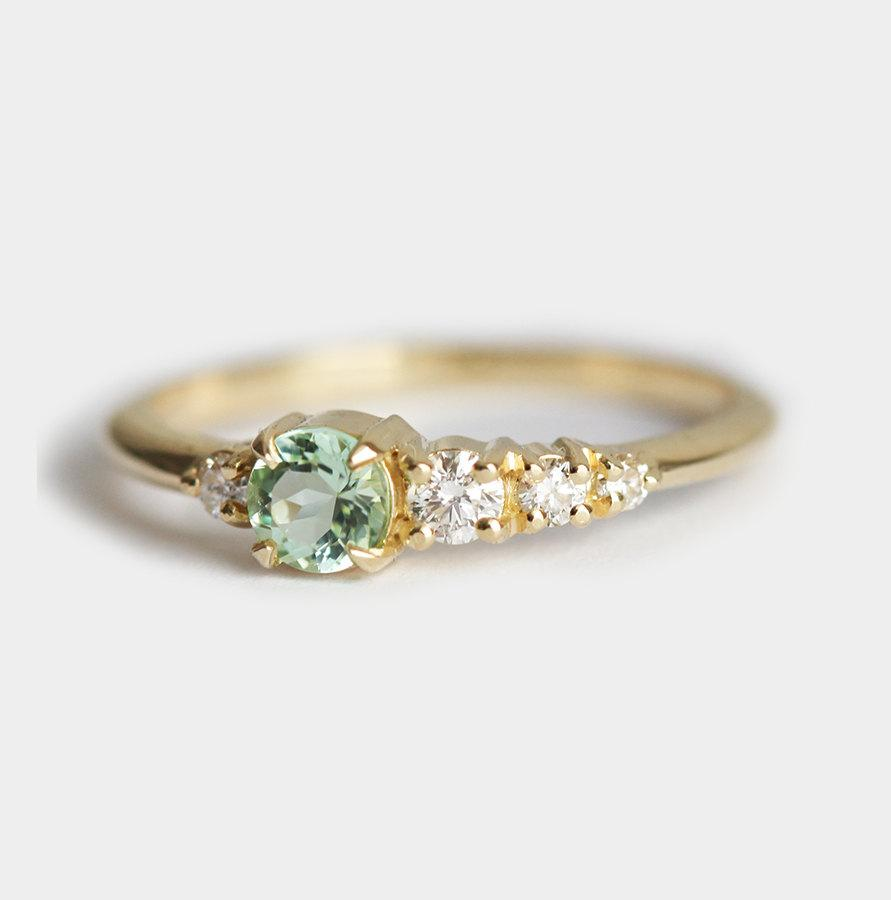Tourmaline Diamond Cer Ring Mint Five Stone Band Green Engagement