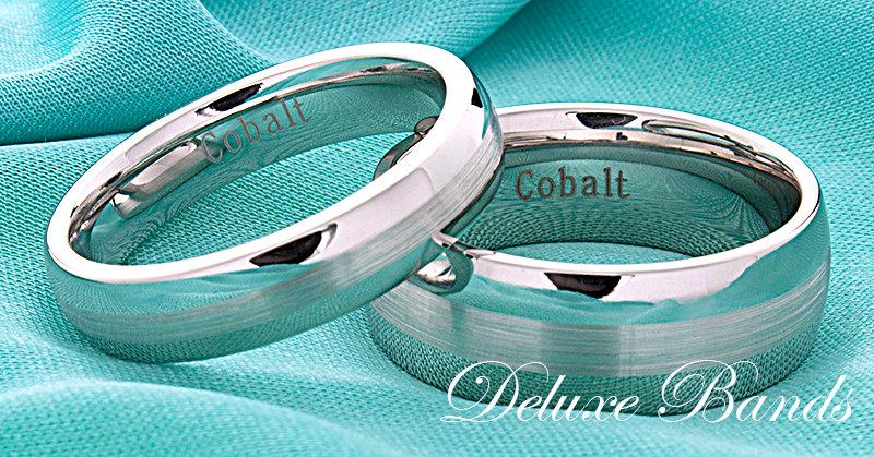Mens Womens Cobalt Wedding Band Domed Ring Anniversary His Hers Handmade Set 5mm 8mm Uni