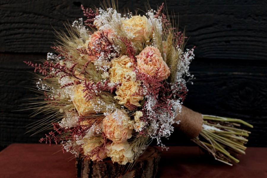 Rustic Wedding Bouquet Large Bridal Farmhouse Dried Flower Blush Peony With Wheat Wild Flowers