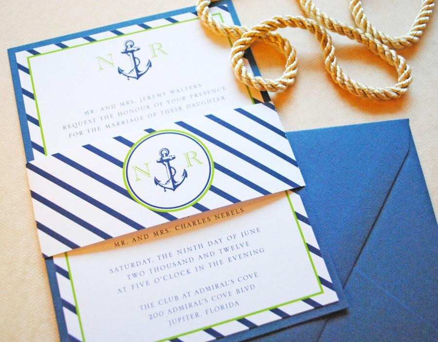 Nautical Wedding Invitation Invitations Anchor Vintage Invite
