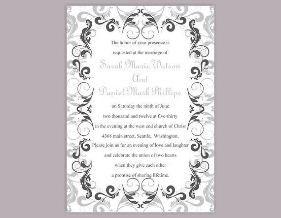 Diy Wedding Invitation Template Editable Word File Instant Printable Silver Gray Black Invitations