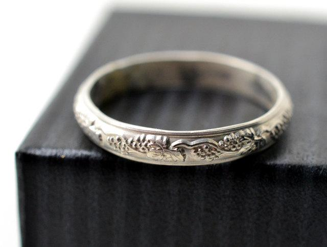 Engravable Wedding Ring Custom Engraving Men S Renaissance Style Sterling Silver Grape Vine Band Engraved Groom Jewelry