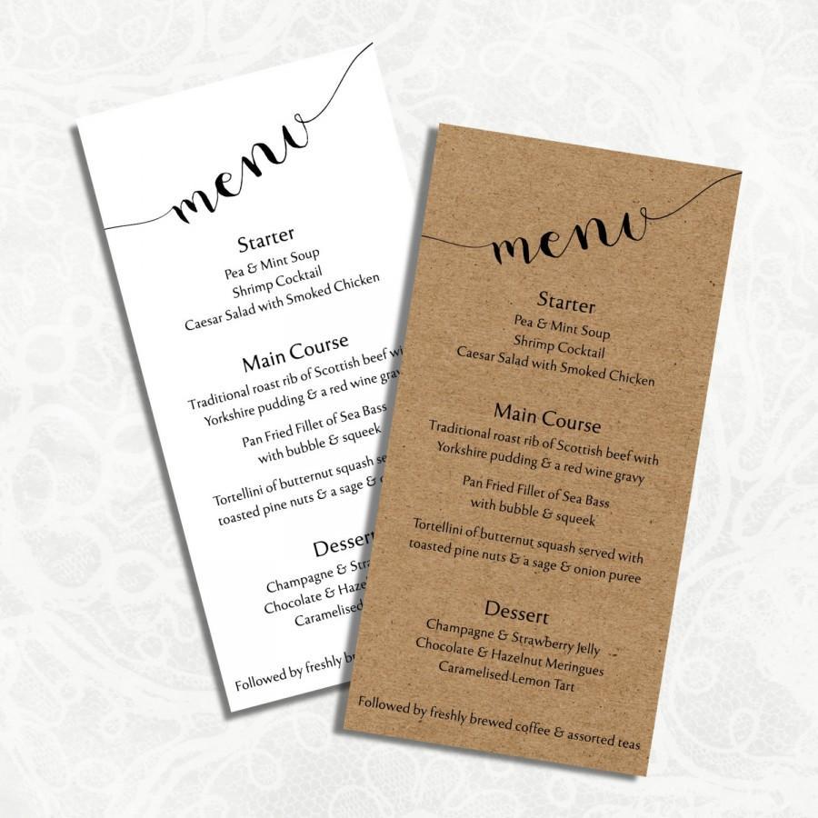 Digital Diy Editable Wedding Menu Template Printable Microsoft Word File Jpeg Rustic Charm Instant