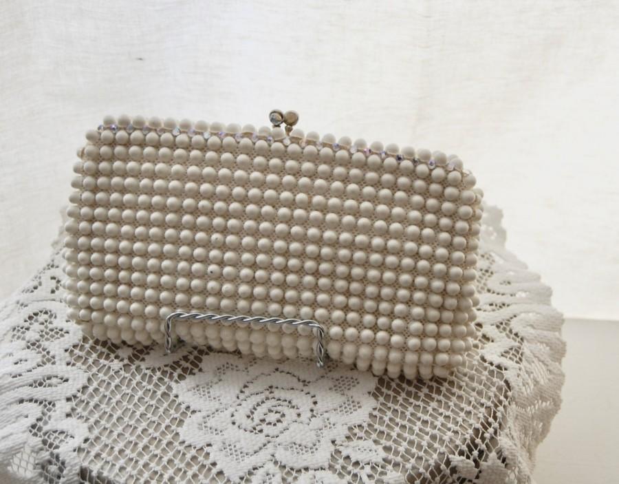 Vintage 50s Evening Bag Beaded Day Purse Bridal Wedding Handbag Made In Usa
