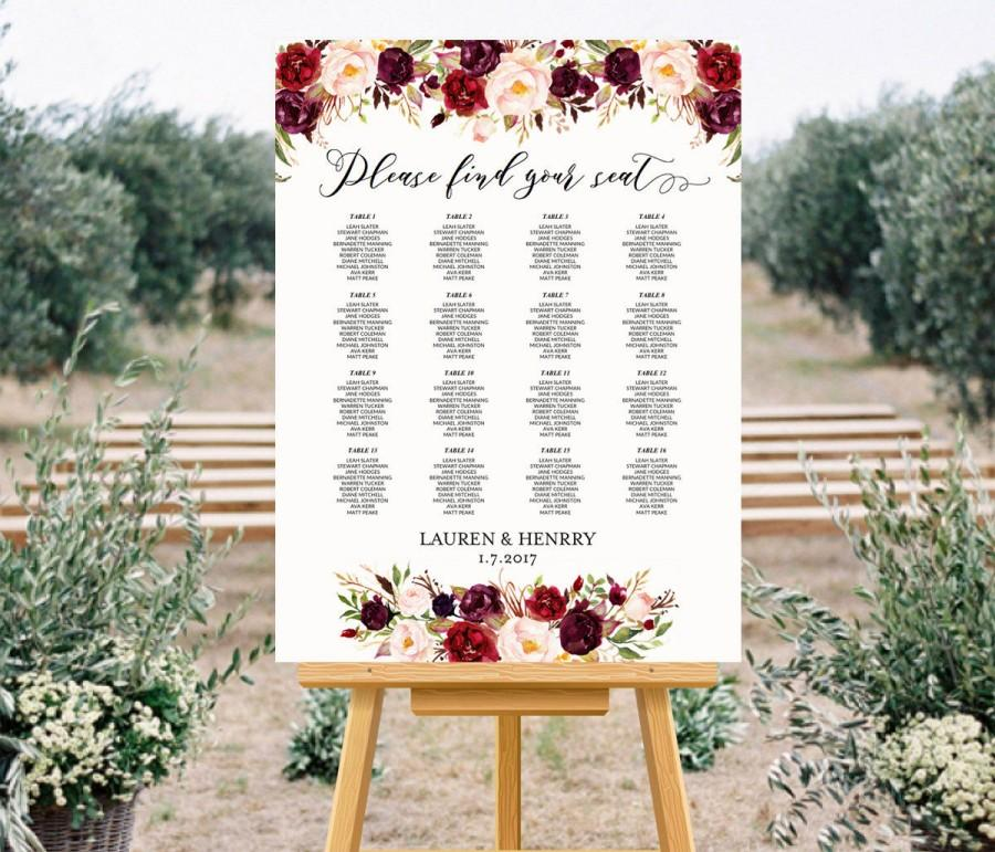 Printable Wedding Seating Chart Template Fl Alphabetical Burgundy Rose Plan Up To 30 Table Poster Pdf Instant