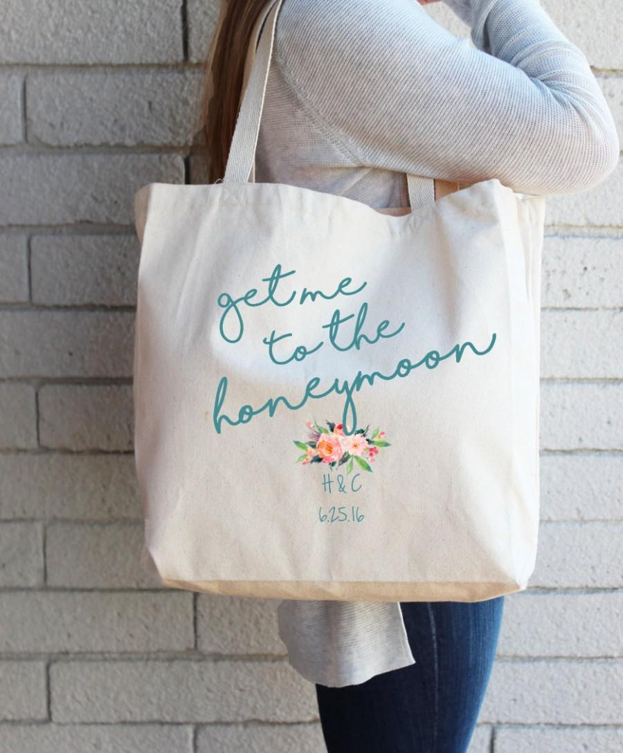 Gift For Bride To Be Custom Tote Bag Honeymoon Beach Destination Wedding Personalized Bridal Shower Cotton Canvas Reusable