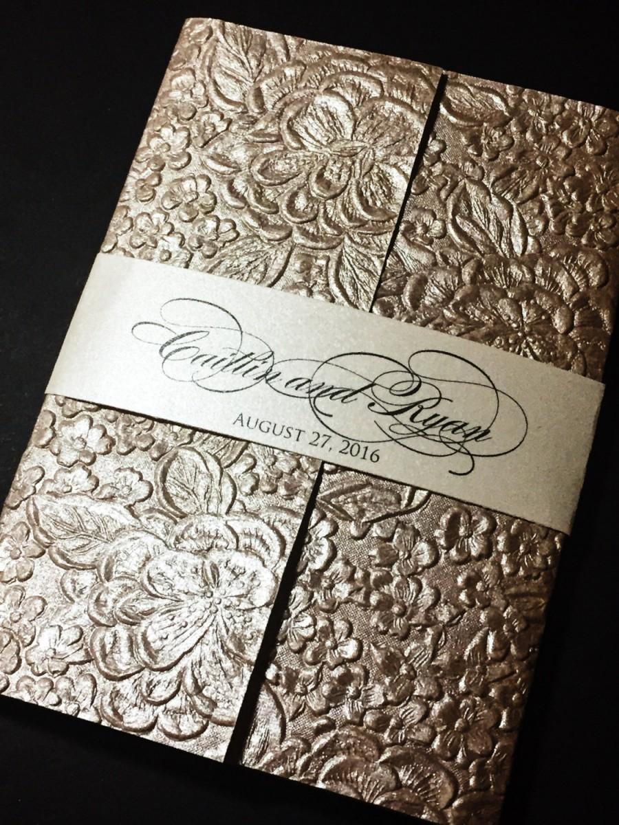 Embossed Wedding Invitation Elegant Invitations Glitter Formal Handmade Paper