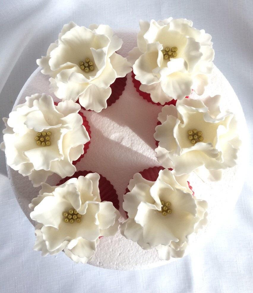 wedding cake fondant flower toppers fondant flowers 6 peony cupcake toppers edible flowers 22689
