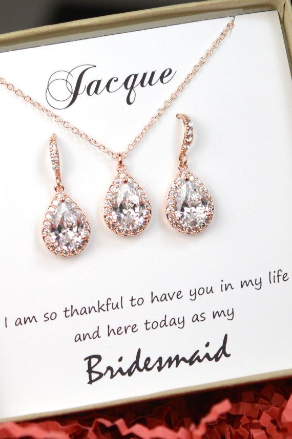 Personalized Bridesmaid Gift Rose Gold Earrings Necklace Bracelet