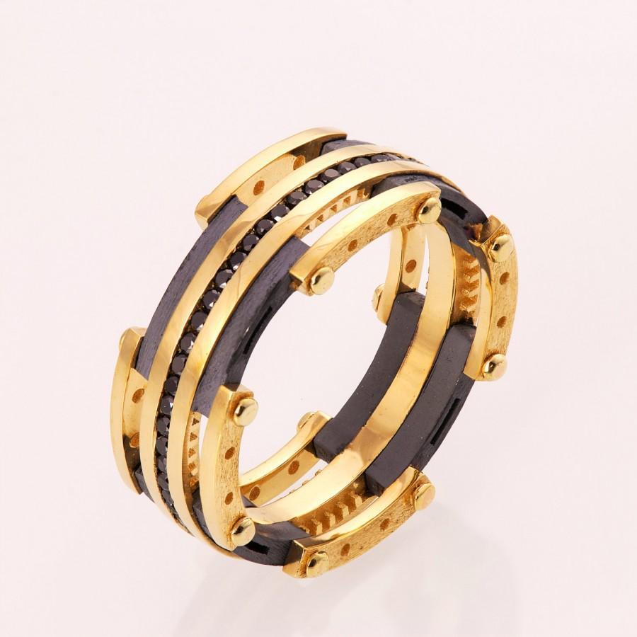 Gold Wedding Band Men S 14k And Black Diamond Steampunk Ring Bng