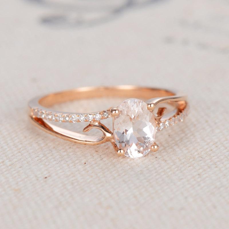 Morganite Engagement Ring Oval Morganite Ring 14K Rose Gold