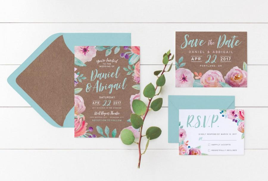 Printable Wedding Invitation Suite Pastel Watercolor Fl On Kraft Paper Save The Date Rsvp Card Set Stationery