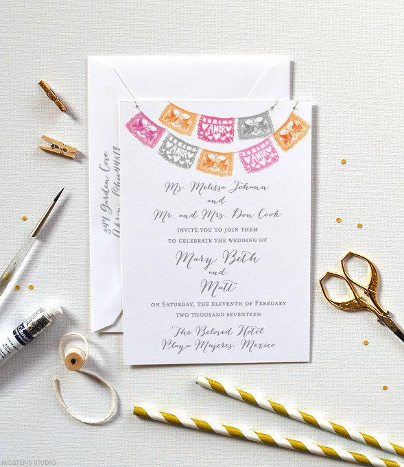 Papel Picado Wedding Invitations Mexican Invitation Set Of 100 Front And Back Printed Watercolor Cards