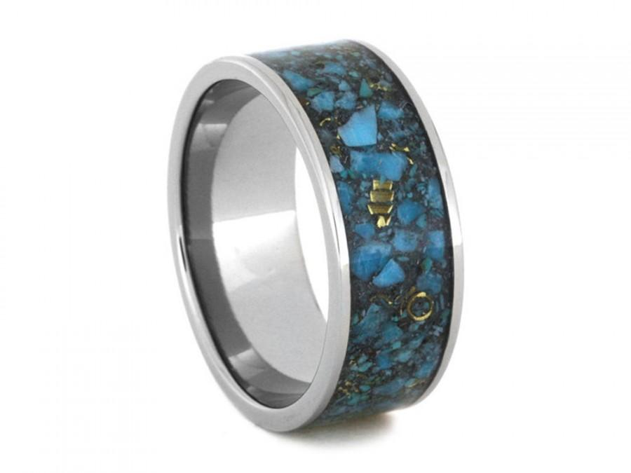 14k Yellow Gold And Crushed Turquoise Wedding Band Unique Anium Ring Mens