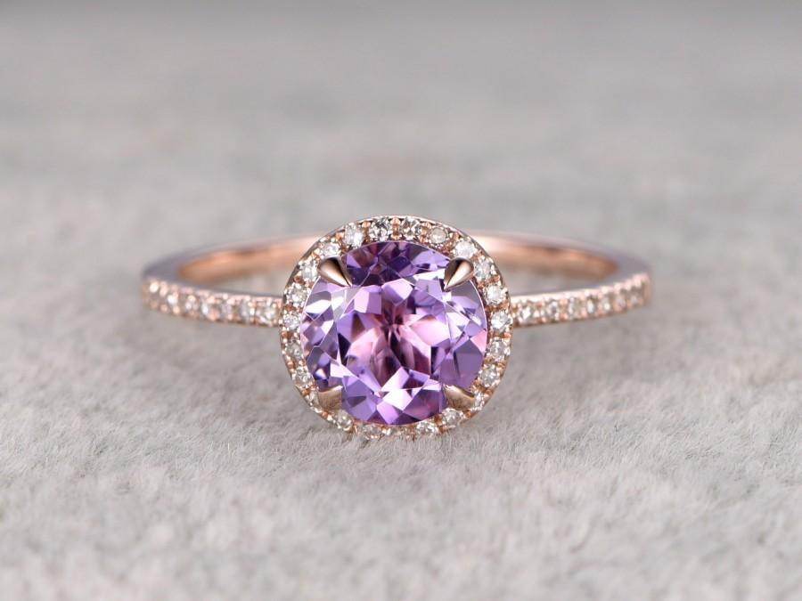 Natural Amethyst Engagement Ring Halo Diamond Wedding Ring 14K
