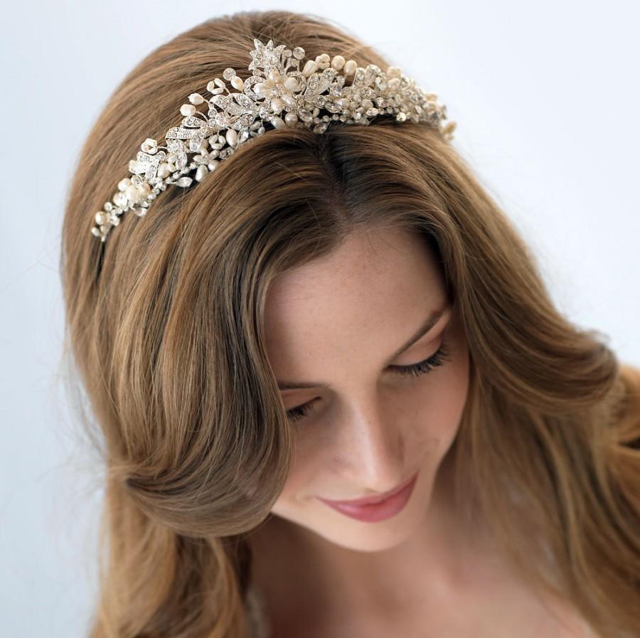 crystal bridal tiara, pearl wedding crown, rhinestone wedding