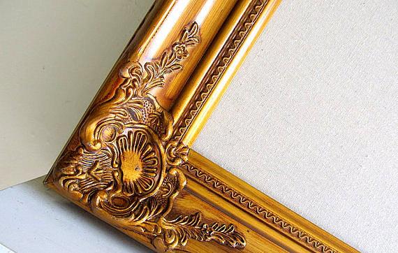 Linen Bulletin Board Gold Wedding Decor Seating Chart Cards Large Framed Cork Corkboard Vintage Frame