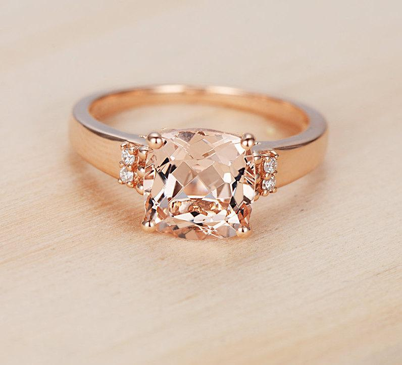 2 3ct Pink Morganite Ring In 14k Rose Gold Diamond Engagement Wedding Gift For Her Promise