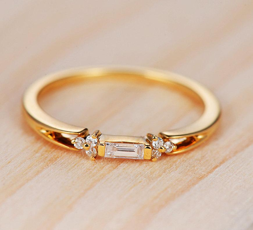Baguette Diamond Ring In 14k Yellow Gold Diamond Engagement Ring