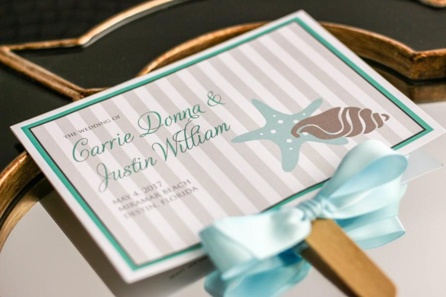 Wedding Programs Fan Ceremony Beach Or Destination Aqua Ivory And Taupe Starfish Shell Program Deposit