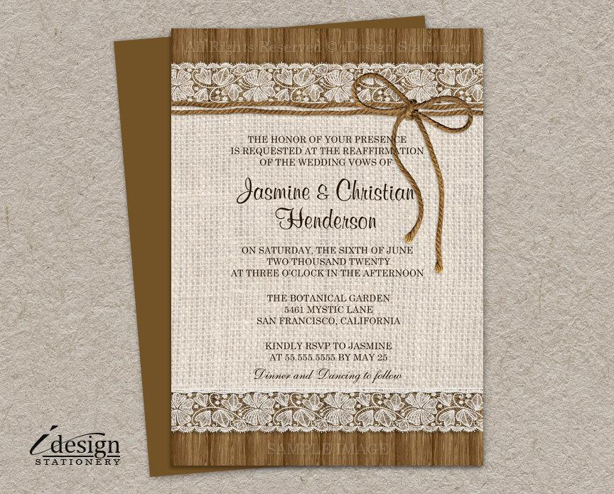 Diy Printable Rustic Vow Renewal Invitations With Burlap And Lace On Brown Barn Wood Twine Elegant Reaffirmation Invites