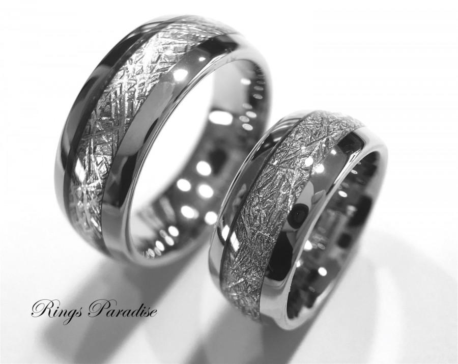 Custom Made Matching Wedding Bands With Fingerprint Engraving Inside Of The Ring Meteorite Inlay Rings Tungsten By Paradise