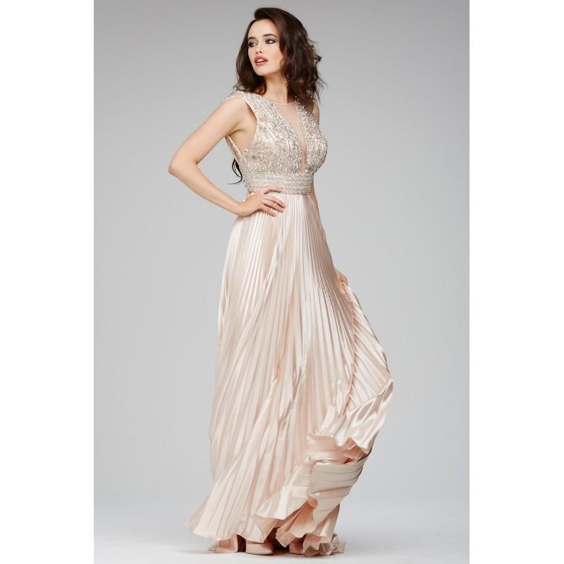Jovani 27853 Dress Bejeweled Bodice Pleated Skirt Sheer V Neckline Jewel Sleeveless A Line Social And Evenings 2017 New Wedding Dresses