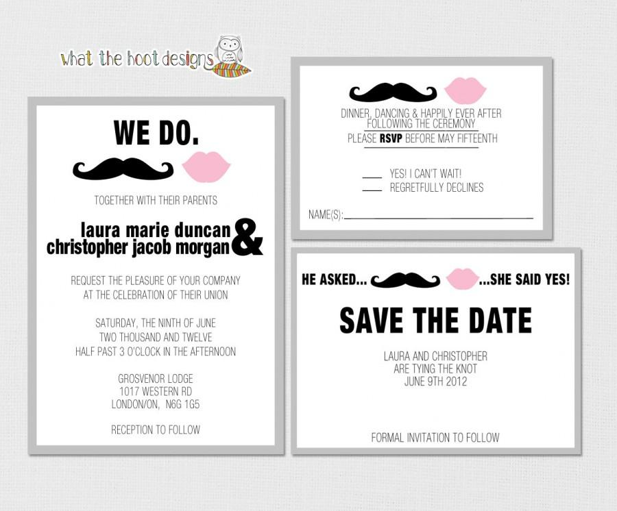 Printable Diy Wedding Invitation Response Card And Save The Date Set Mustache Lips Theme