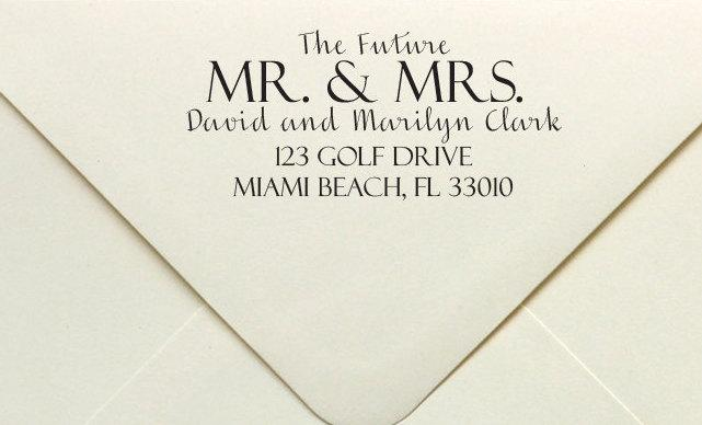 The Future Mr Mrs Wedding Stamp Custom Rubber Or Self Inking Personalized