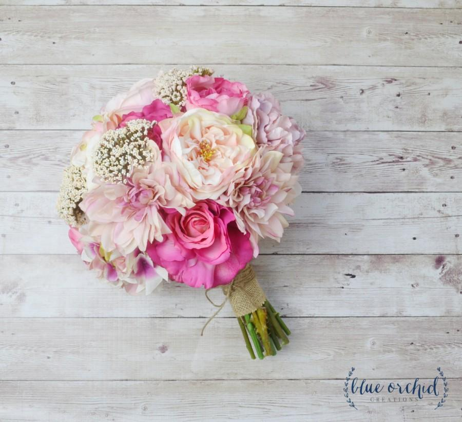 Pink Wedding Bouquet Silk Peony Shabby Chic Rustic Flowers Faux Bouquets