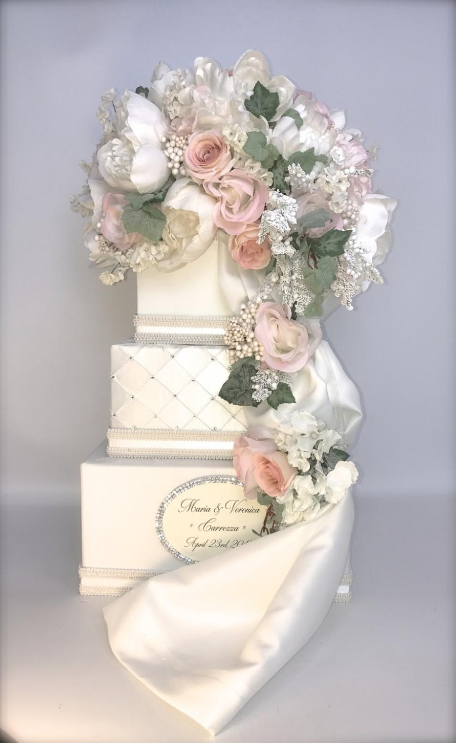 Personalized Wedding Card Box Secured Lock Peach Pink Cream Holder Unique Elegant Reception With Slot Secure