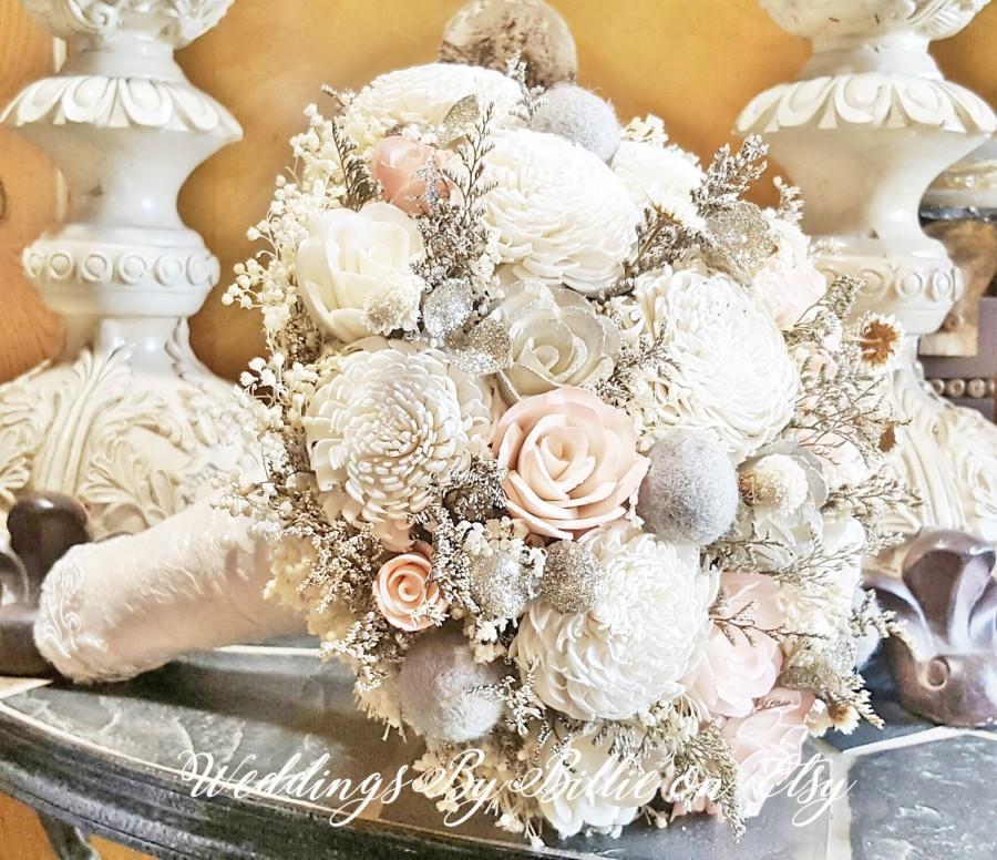 Blush Heather Gray Champagne Ivory Sola Bouquet Wedding Flowers Bidal Accessories Bridal