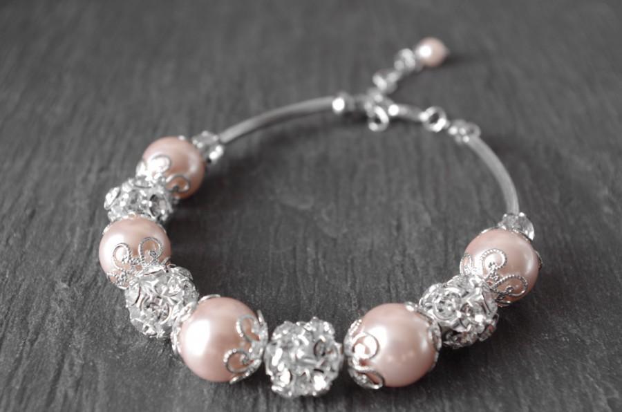 Wedding Blush Pearl Bracelet Tea Rose Bridesmaid Jewelry Bridal Crystal Bridesmaids Gifts