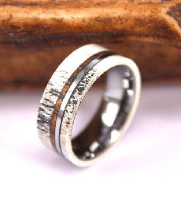Antler And Koa Wood Tungsten Mens Wedding Band 8mm Nature Inspred Pristine Custom Rings