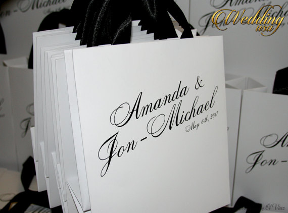 Set Of 30 White Personalized Out Town Wedding Welcome Bag With Ribbon And Your Tag Custom Paper Bags Guest Bridal Shower