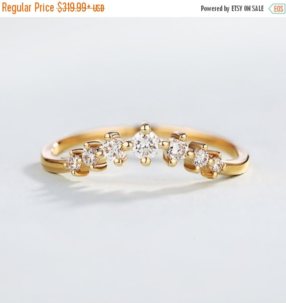 Diamond Wedding Band Unique Curved Ring Set Rose Gold Simple Delicate Chevron Tiny Stacking Anniversary Promise Minimalist