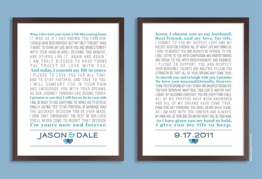Custom Wedding Vows Personalized Print Set Of Two Prints Song Lyrics Poem Gift Anniversary Colors