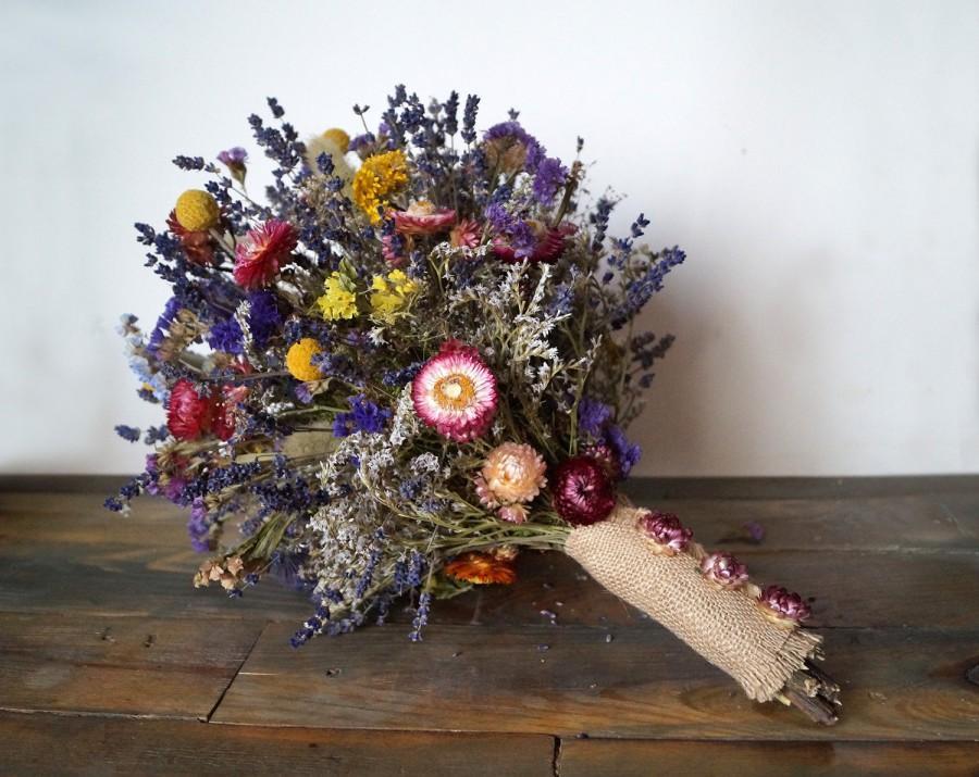 Wedding Bouquet Dried Flowers Lavender Wild Billy Ons Bunch Strawflower
