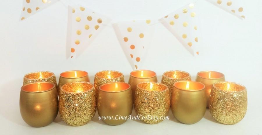 12 Votive Candle Holders Wedding Centerpiece Decorations Decor Gold Tealight Holder