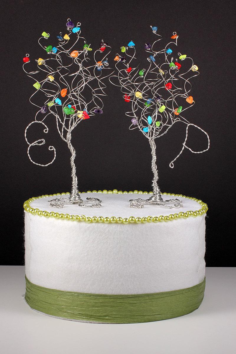 rainbow cake topper rainbow wedding cake topper set of two trees with initials 6945