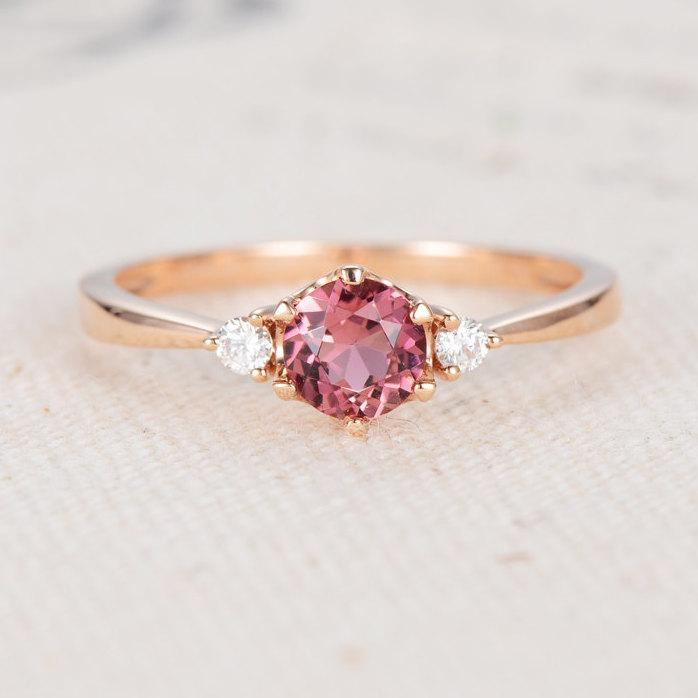 Pink Tourmaline Engagement Ring October Birthstone Rose Gold Anniversary
