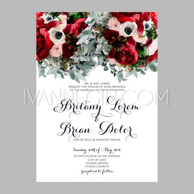 Peony Wedding Invitation Printable Template With Fl Wreath Or Bouquet Of Rose Flower And Daisy Unique Vector Ilrations Christmas Cards