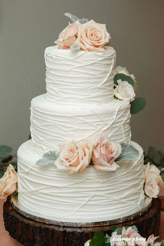 Three Tier White Line Cake